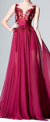 Matric Dance Dress with Chiffon Skirt & Lace Bodice