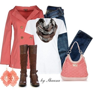 Winter's outfit idea, Autumn outfit idea, Coral & white outfit combination