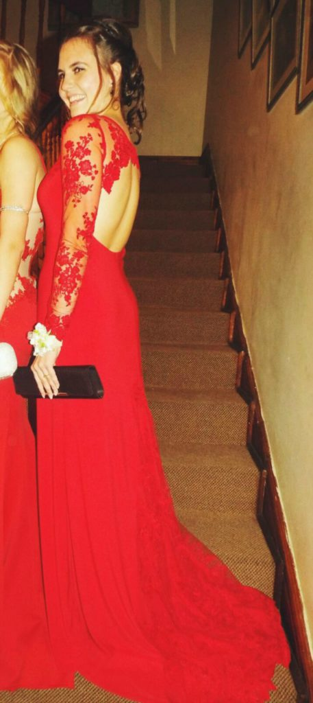 Tessa In Red Bespoke Maryke Matric Dance Dress With Lace Sleeves Amp Open Back 01