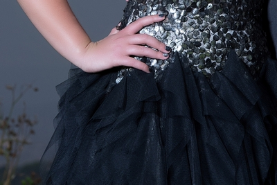 Matric dance dress, matric ball dress, evening dress, evening dress with frill detail, sequined evening dress