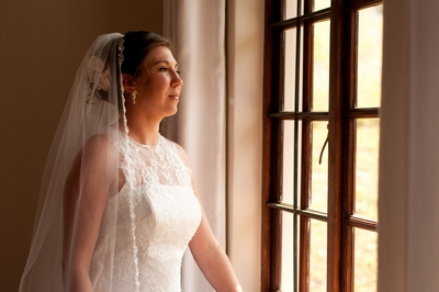 Lace mermaid style wedding dress with illusion neckline