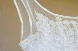 Off-white Vintage inspired Wedding Dress with Lace Applique and illusion straps, Chiffon empire style wedding dress