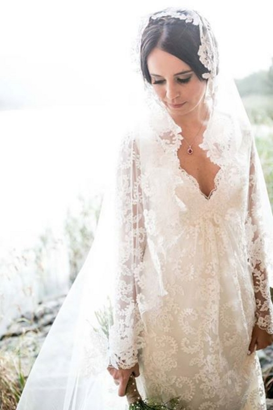 Vintage Lace Wedding Dress with Lace Sleeves | Maryke Wedding Dress ...