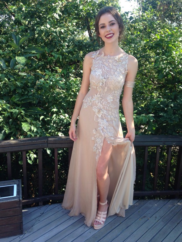 Textured Beaded Lace Appliqué Evening Dress, Evening Dress with Lace Appliqué Detail, Nude Coloured Evening Dress, Flesh Colour Evening Dress, Illusion Mesh Evening Dress, Textured Beaded Lace Appliqué Matric Dance Dress, Low Back Matric Dance Dress, Low Back Evening Dress