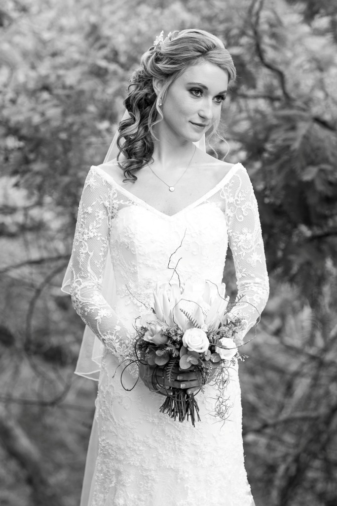White Vintage Beaded Lace Wedding Dress With Sleeves | Maryke ...