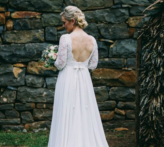 Lace sleeves, Off-white wedding dress with beaded lace, Wedding dress with chiffon skirt, wedding dress with Georgette skirt, Low back wedding dress