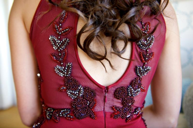 Beaded Evening Dress, Custom Matric Dance with beaded lace, Burgundy matric dance dress with side slit detail, Beaded applique evening dress