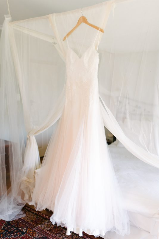 Blush tulle skirt wedding dress, dropped waist wedding dress, Chantilly lace bodice, Open back wedding dress, Milk white wedding dress with shoestring straps