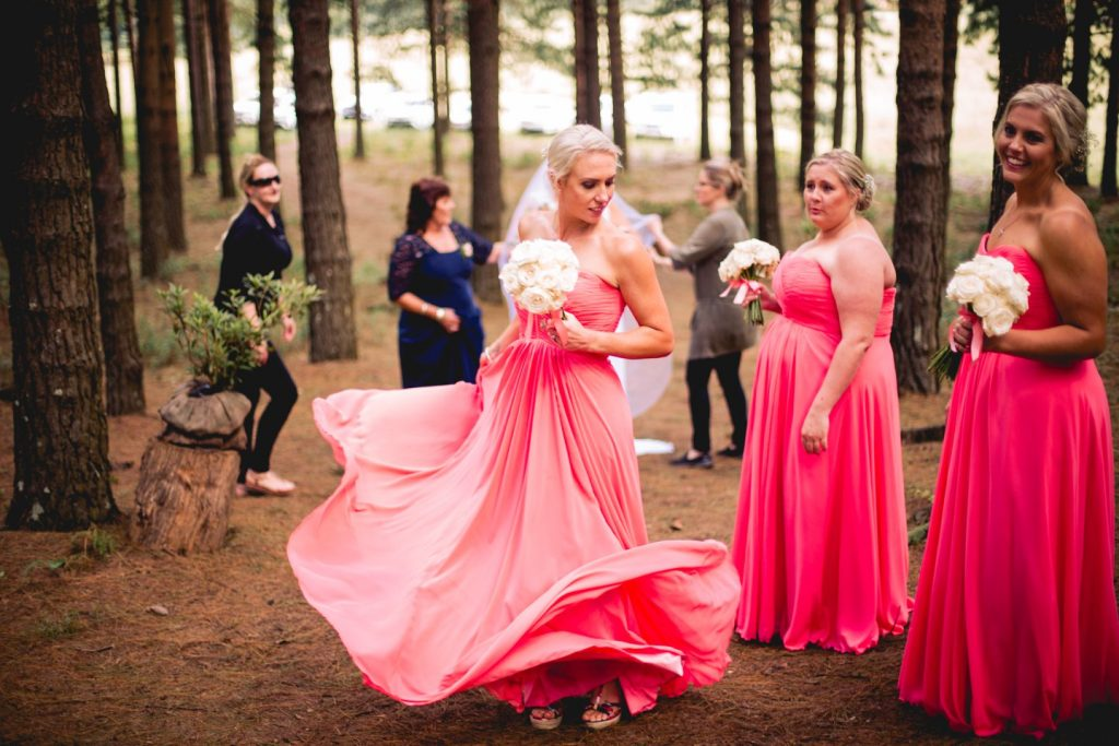 Bride with bridesmiads, Coral colour bridesmaids dresses
