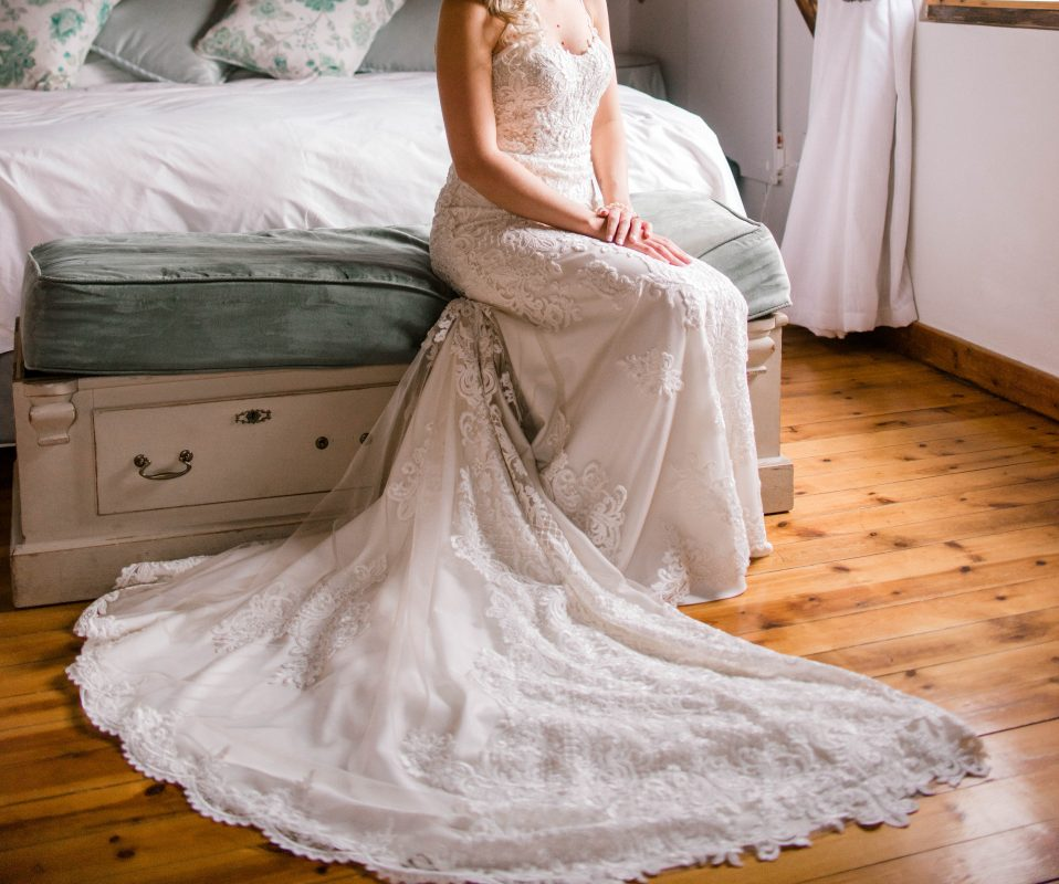 Modern Classic Wedding dress with exquisite lace detail, spaghetti strap wedding dress, Subtle Oyster overlay lace wedding dress