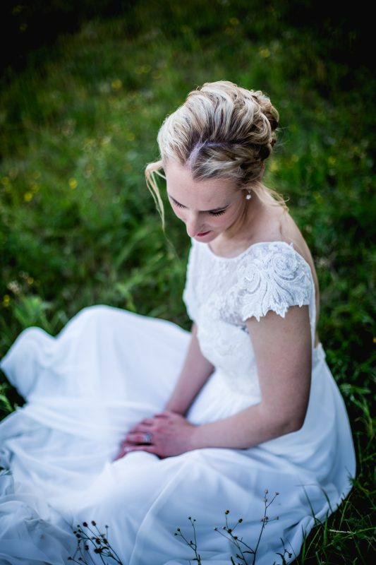Delicate lace bodice with cap sleeves and open back, chiffon skirt wedding dress, open back wedding dress, Bo-ho wedding dress