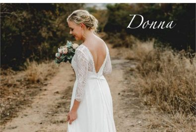 Wedding dress with lace sleeves, Wedding dress with sleeves and open back V, Wedding dress with chiffon skirt, simple wedding dress, elegant wedding dress