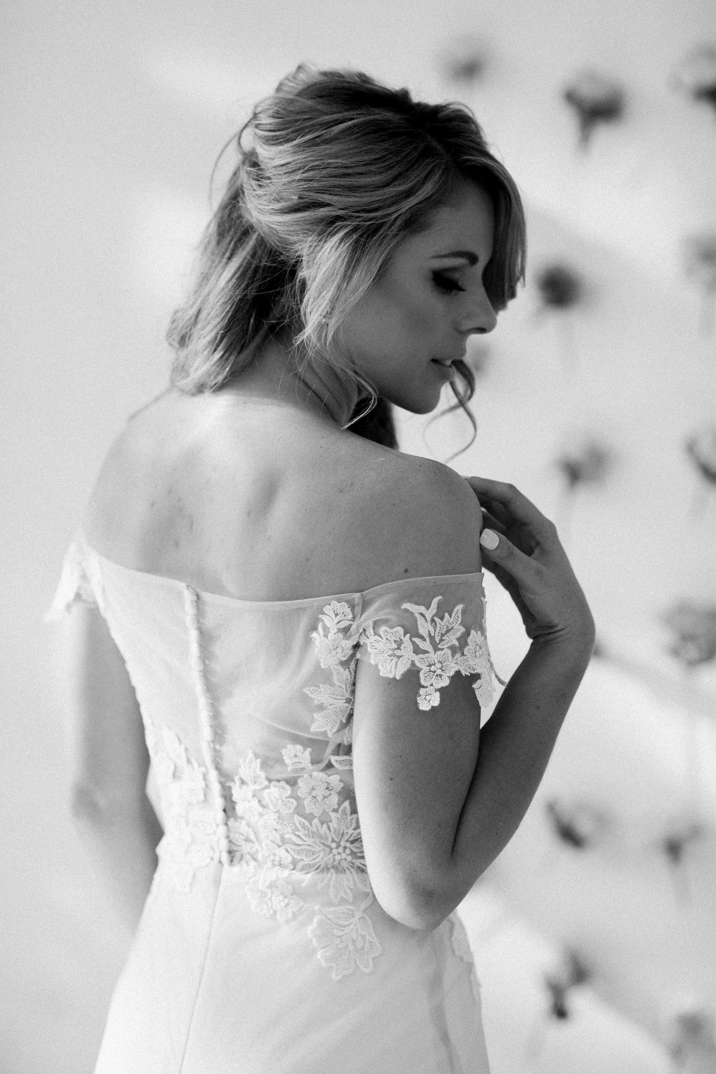 Off shoulder wedding dress, bold lace detailed bodice wedding dress, Olivia Wedding Dress by Bespoke by Maryke