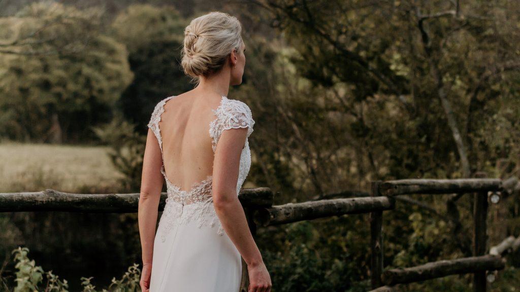 Custom Design Open back lace wedding dress by Bespoke by Maryke