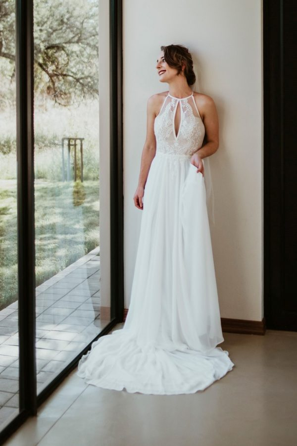 Maryke Collection Boho Payton Boho haler neck wedding gown with chiffon skirt