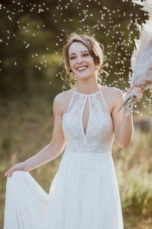 Bohemian lace halterneck wedding dress with chiffon skirt_Maryke Collection